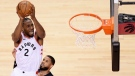 Toronto Raptors forward Kawhi Leonard (2) draws a foul as he scores on Orlando Magic guard D.J. Augustin (14) during second half NBA playoff basketball action in Toronto, on Tuesday, April 16, 2019. THE CANADIAN PRESS/Nathan Denette