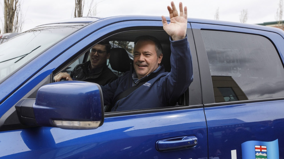 United Conservative Party leader Jason Kenney arrives at a rally before the election, in Sherwood Park Alta, on Monday April 15, 2019. THE CANADIAN PRESS/Jason Franson