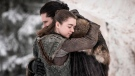 "This image released by HBO shows Maisie Williams, left, and Kit Harington in a scene from ""Game of Thrones,"" premiering on Sunday, April 14. The first episode of the final season of ""Game of Thrones"" is a record-breaker for the series and HBO. The pay channel said the 17.4 million viewers who watched Sunday's episode either on TV or online represent a season-opening high for the fantasy saga. (Helen Sloan/HBO via AP)"