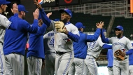 Toronto Blue Jays' Teoscar Hernandez, center, celebrates with teammates after the Blue Jays beat the Minnesota Twins 6-5 in a baseball game, Tuesday, April 16, 2019, in Minneapolis. Hernandez put the Blue Jays ahead with a two-run single in the seventh inning to break a tie. (AP Photo/Jim Mone)