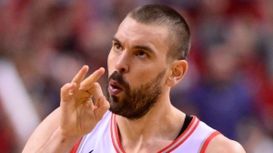 Toronto Raptors centre Marc Gasol (33) celebrates his three point basket against the Orlando Magic during second half NBA basketball playoff action in Toronto, on Saturday, April 13, 2019. THE CANADIAN PRESS/Frank Gunn