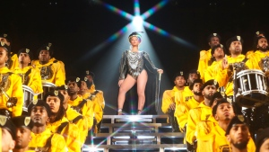 """This image released by Netflix shows Beyonce in a scene from her documentary """"Homecoming: A Film by Beyonce."""" (Parkwood Entertainment/Netflix via AP)"""