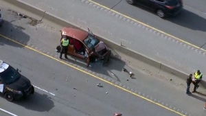 The scene of a fatal crash in Milton on April 17, 2019 is seen from Chopper 24.