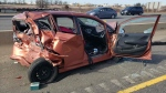A vehicle involved in a fatal collision on Highway 401 in Milton. (Twitter/OPP_HSD)