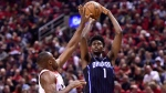 Orlando Magic forward Jonathan Isaac (1) shoots over Toronto Raptors centre Serge Ibaka (9) during second half NBA basketball playoff action in Toronto on Tuesday, April 16, 2019. THE CANADIAN PRESS/Frank Gunn