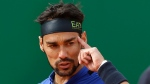 Italy's Fabio Fognini reacts during the semifinal match of the Monte Carlo Tennis Masters tournament against Spain's Rafael Nadal in Monaco, Saturday, April, 20, 2019. (AP Photo/Claude Paris)