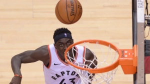 Toronto Raptors forward Pascal Siakam (43) watches as he misses his shot against the Orlando Magic during second half NBA basketball playoff action in Toronto, on Saturday, April 13, 2019. THE CANADIAN PRESS/Nathan Denette