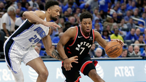 Toronto Raptors' Kyle Lowry (7) drives around Orlando Magic's Khem Birch (24) during the first half in Game 4 of a first-round NBA basketball playoff series, Sunday, April 21, 2019, in Orlando, Fla. (AP Photo/John Raoux)