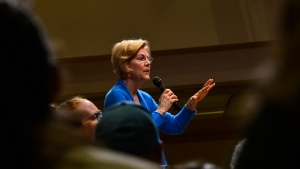 Democratic presidential candidate Sen. Elizabeth Warren, D-Mass. visits Keene State College during a campaign visit on Saturday, April 20, 2019 in Keene, N.H. (Kristopher Radder/The Brattleboro Reformer via AP)