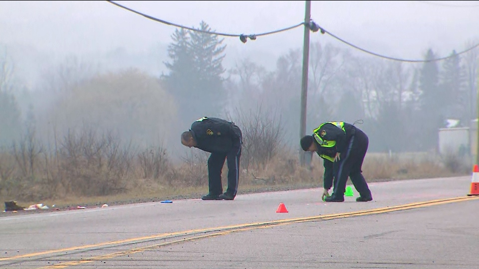 Ontario Provincial Police investigators are seen searching for evidence at the scene of a fatal hit-and-run near Schomberg.