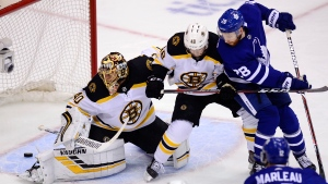 Boston Bruins goaltender Tuukka Rask (40) looks back as the puck goes into the net on a goal by Toronto Maple Leafs defenceman Morgan Rielly (not shown) as Bruins defenceman Matt Grzelcyk (48) and Maple Leafs right wing Connor Brown (28) battle in front of the net during first period NHL playoff hockey action in Toronto on Sunday, April 21, 2019. Toronto heads into the finale of a back-and-forth Eastern Conference quarterfinal with the Boston Bruins on Tuesday night with a firm belief. Ghosts of past playoff failures, however, still linger. THE CANADIAN PRESS/Frank Gunn