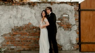 In this Saturday, April 20, 2019, photo provided by Katch Silva, Michelle Branch and Patrick Carney pose for a photo in New Orleans. The Grammy-winning musicians tied the knot Saturday at the Marigny Opera House in front of close friends and family, a representative for Carney told The Associated Press on Sunday. (Katch Silva via AP)