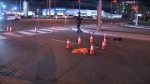 Two pedestrians were struck by a vehicle near Markham on Monday night.
