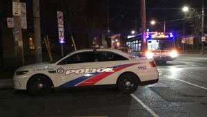Police investigate after a man was stabbed on a TTC bus near Jane Station Tuesday April 23, 2019. (Ken Nguyen /CP24)