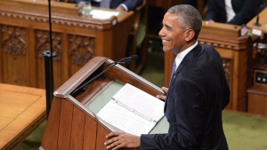 U.S. President Barack Obama addresses the Canadian Parliament in the House of Commons in Ottawa on Wednesday, June 29, 2016. THE CANADIAN PRESS/Adrian Wyld