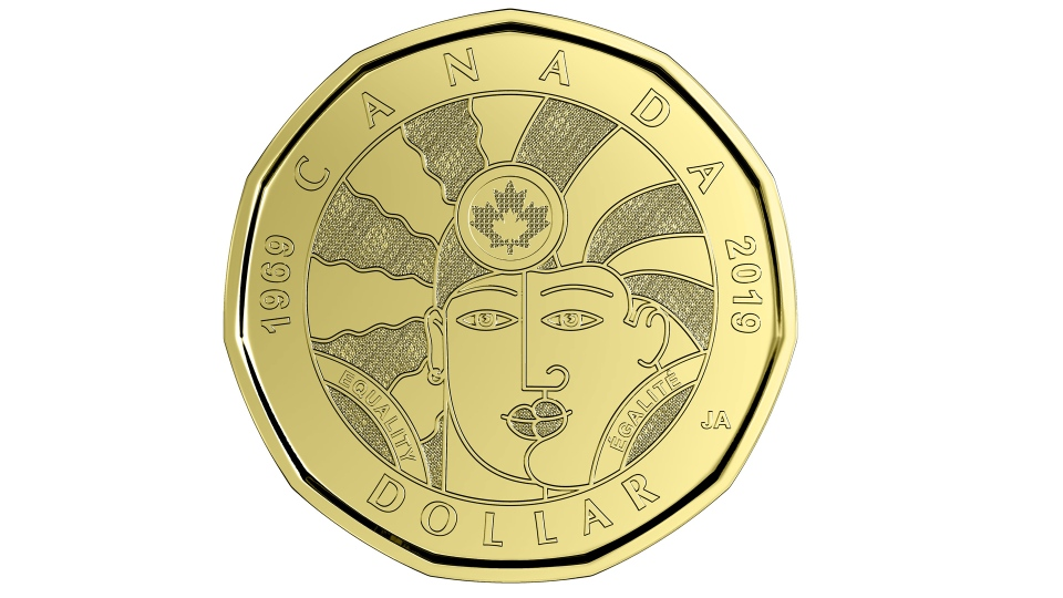 The Royal Canadian Mint is unveiling a new commemorative loonie today, shown in a handout photo, meant to mark what it calls a key milestone for lesbian, gay, transgender, queer and two-spirited people in the country. THE CANADIAN PRESS/HO-Royal Canadian Mint