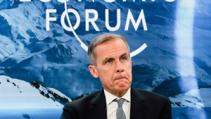 Mark Carney, Governor of the Bank of England, attends a session during the annual meeting of the World Economic Forum in Davos, Switzerland, Thursday, Jan. 24, 2019. (AP Photo/Markus Schreiber)
