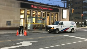 Police investigate a possible arson at a pizza restaurant at Jane and Annette streets Wednesday April 24, 2019. (Mike Nguyen /CP24)