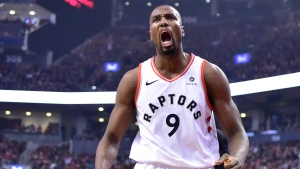 Toronto Raptors centre Serge Ibaka (9) reacts after scoring against the Orlando Magic during first half NBA basketball playoff action in Toronto on Tuesday, April 23, 2019. The Raptors significantly retooled their team for a deep playoff run this season. So did the Philadelphia 76ers, Toronto's opponent in the NBA Eastern Conference semifinals.Coming off their most decisive playoff win in franchise history - a five-game romp over the Orlando Magic - the second-seeded Raptors will face a much stronger playoff test in the 76ers.THE CANADIAN PRESS/Frank Gunn