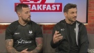 Toronto Wolfpack players Jon Wilkin and Greg Worthington.