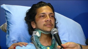 Hit and run victim Navindra Sookramsingh is shown during a news conference on Thursday, April 25.
