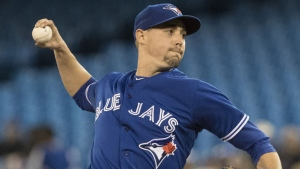 Toronto Blue Jays starting pitcher Aaron Sanchez throws against the Oakland Athletics during the first inning of their American League MLB baseball game in Toronto Saturday April 27, 2019. THE CANADIAN PRESS/Fred Thornhill