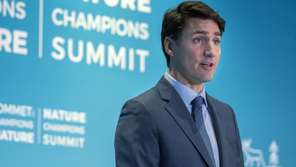 Prime Minister Justin Trudeau addresses the Nature Champions Summit in Montreal on Thursday, April 25, 2019. THE CANADIAN PRESS/Paul Chiasson