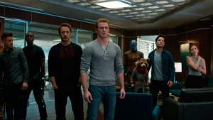 "This image released by Disney shows, from left, Jeremy Renner, Don Cheadle, Robert Downey Jr., Chris Evans, Karen Gillan, the character Rocket, voiced by Bradley Cooper, Paul Rudd and Scarlett Johansson in a scene from ""Avengers: Endgame."" (Disney/Marvel Studios via AP)"