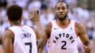 Toronto Raptors forward Kawhi Leonard (2) and teammate Kyle Lowry (7) celebrate a basket during first half NBA Eastern Conference playoff action against the Philadelphia 76ers, in Toronto on Saturday, April 27, 2019. Lowry remembers witnessing only one other playoff performance that was as dominant as Kawhi Leonard's was on Saturday. THE CANADIAN PRESS/Frank Gunn