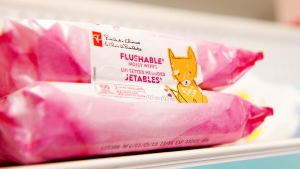 """Flushable wipes are shown on a shelf of a pharmacy in Toronto on Tuesday April 30, 2019. Friends of the Earth Canada wants the Competition Bureau to investigate a recent study it says proves there is no such thing as a """"flushable"""" wipe. THE CANADIAN PRESS/Doug Ives"""