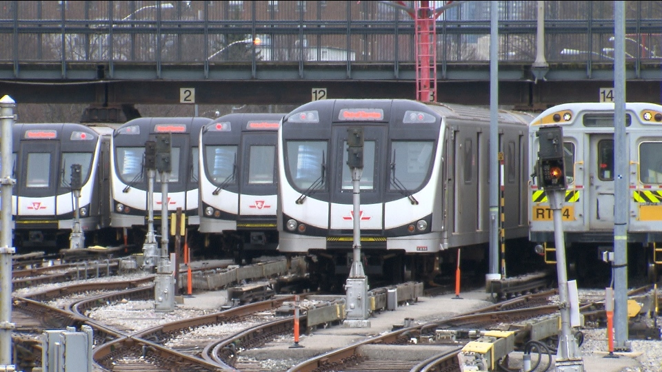 Subway cars are pictured at a TTC rail yard.