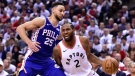 Toronto Raptors forward Kawhi Leonard (2) drives to the net as Philadelphia 76ers guard Ben Simmons (25) defends during second half, second round NBA basketball playoff action in Toronto, on Monday, April 29, 2019. After the 76ers made the right adjustments to get a split in Toronto with a Game 2 winm the Raptors will look to get back to what gave them a dominant series- opening win when the teams meet in Philadelphia for Game 3 of their Eastern Conference final. THE CANADIAN PRESS/Frank Gunn