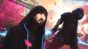 "This image provided by Steve Aoki shows a scene from his comic book ""Neon Future."" The graphic novel is set roughly 30 years from now in a United States that has outlawed advanced technology. A civil war is brewing between people who have integrated technology into their bodies and those who have not. The resistance movement, Neon Future, is led by a longhaired, bearded, Asian-American man named Kita Sovee, an anagram of Steve Aoki. (Steve Aoki via AP)"