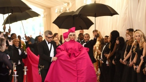 "Lady Gaga, right, and Brandon Maxwell attends The Metropolitan Museum of Art's Costume Institute benefit gala celebrating the opening of the ""Camp: Notes on Fashion"" exhibition on Monday, May 6, 2019, in New York. (Photo by Evan Agostini/Invision/AP)"