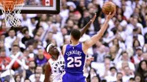 Toronto Raptors forward Pascal Siakam (43) defends as Philadelphia 76ers guard Ben Simmons (25) pressures during second half NBA Eastern Conference playoff action, in Toronto on Saturday, April 27, 2019. THE CANADIAN PRESS/Frank Gunn