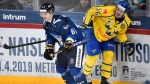 Teemu Kivihalme of Finland, left, and Emil Larsson of Sweden during the Ice Hockey Euro Hockey Tour Karjala Cup match between Finland and Sweden in Helsinki, Finland, on Sunday, November 11, 2018. The Toronto Maple Leafs have signed defenceman Kivihalme to a one-year, entry-level contract. THE CANADIAN PRESS/Heikki Saukkomaa/Lehtikuva via AP