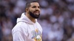 "Rapper Drake wears a ""Breaker High"" hoodie as he watches the Toronto Raptors play the Philadelphia 76ers during NBA playoff action in Toronto, Tuesday, May 7, 2019. THE CANADIAN PRESS/Frank Gunn"