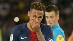 In this Aug.12 2018 file photo, PSG's Neymar reacts during a League One soccer match between Paris Saint-Germain and Caen at Parc des Princes stadium in Paris. (AP Photo/Michel Euler, file)