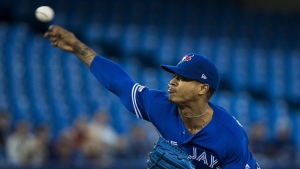 Toronto Blue Jays starting pitcher Marcus Stroman (6) works against the Chicago White Sox during first inning MLB baseball action in Toronto on Saturday, May 11, 2019. THE CANADIAN PRESS/Nathan Denette