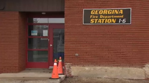 Firefighters in Georgina returned from a call on May 14, 2019 to find a crying baby, wrapped in a blanket, outside the rear fire hall door.