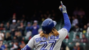 Toronto Blue Jays' Vladimir Guerrero Jr. points to the sky as he rounds the bases after hitting a solo home run against the San Francisco Giants during the first inning of a baseball game in San Francisco, Tuesday, May 14, 2019. (AP Photo/Tony Avelar)