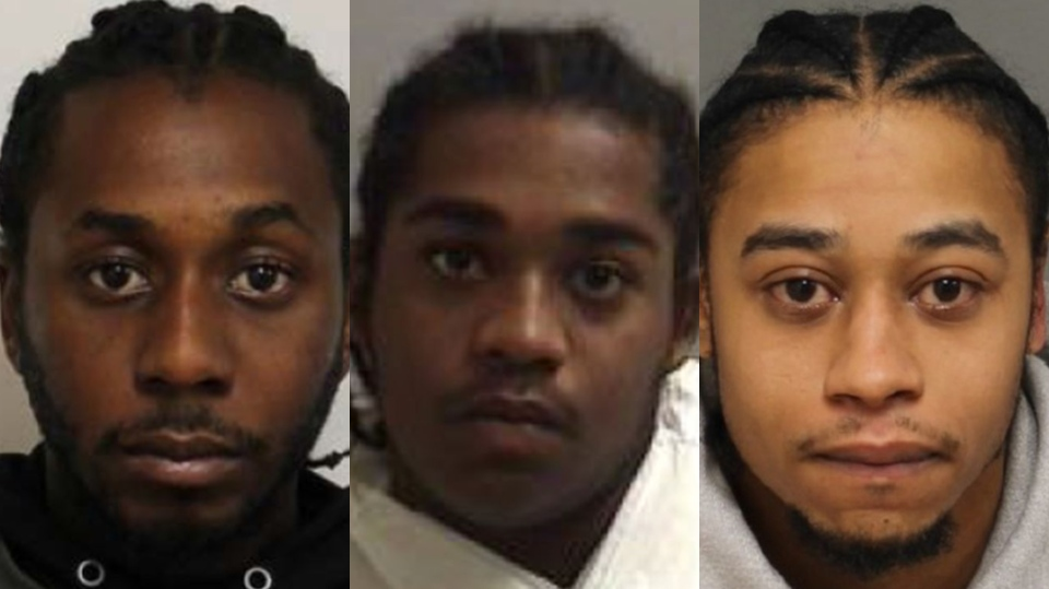(From left to right): Michael Smith, 29, Andrae Douse, 21,  and Dayne Sitladeen, 27, are all wanted on a charge of first-degree murder. (Toronto police handout)