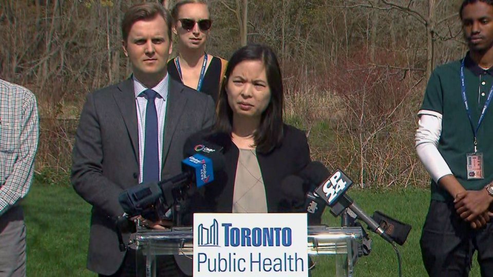Toronto's Associate Medical Officer of Health Dr. Christine Navarro speaks with CP24 at Morningside Park on Thursday morning.