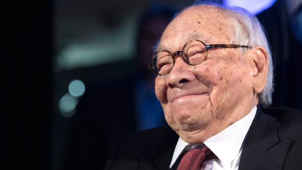 In this Thursday, Oct. 27, 2016, file photo, Chinese-American architect I.M. Pei smiles as he accepts the Lifetime Achievement Award during the 2016 Asia Game Changer Awards ceremony in New York. (AP Photo/Mary Altaffer)