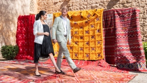 In this Monday, Feb. 25, 2019 file photo, Britain's Prince Harry and Meghan, Duchess of Sussex visit the Andalusian Gardens in Rabat, Morocco. Sunday, May 19, 2019 marks the first wedding anniversary of the besotted couple. (Facundo Arrizabalaga/Pool Photo via AP, File)