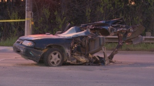 A vehicle involved in a deadly collision in Guelph on Saturday morning is shown. (David Ritchie)