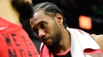 Toronto Raptors forward Kawhi Leonard (2) reacts at the end of Game 2 of the NBA basketball Eastern Conference finals against the Milwaukee Bucks in Milwaukee on Friday, May 17, 2019. THE CANADIAN PRESS/Frank Gunn
