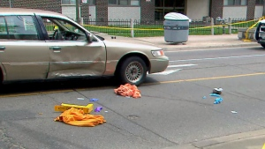 The scene of a collision in Parkdale on May 19, 2019 is seen.