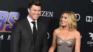 """In this April 22, 2019, file photo, Colin Jost, left, and Scarlett Johansson arrive at the premiere of """"Avengers: Endgame"""" at the Los Angeles Convention Center. Wedding bells are in the future for actress Scarlett Johansson and Saturday Night Live's Colin Jost. Johansson's publicist Marcel Pariseau tells The Associated Press Sunday, May 19, 2019, that the private couple is officially engaged after two years of dating. Pariseau says no date has been set for the nuptials. (Photo by Jordan Strauss/Invision/AP, File)"""