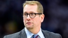 Toronto Raptors head coach Nick Nurse looks on from courtside during second half NBA Eastern Conference finals playoff basketball action against the Milwaukee Bucks, in Milwaukee on Wednesday, May 15, 2019. THE CANADIAN PRESS/Frank Gunn